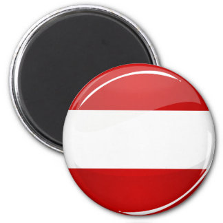 Glossy Round Austrian Flag Magnet