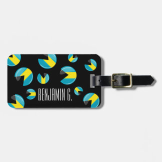 Glossy Round Bahamian Flag Luggage Tag