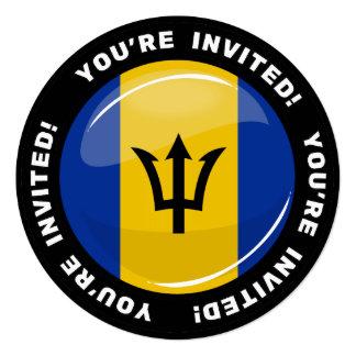 Glossy Round Barbados Flag Card