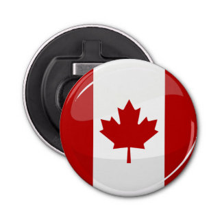 Glossy Round Canadian Flag Bottle Opener