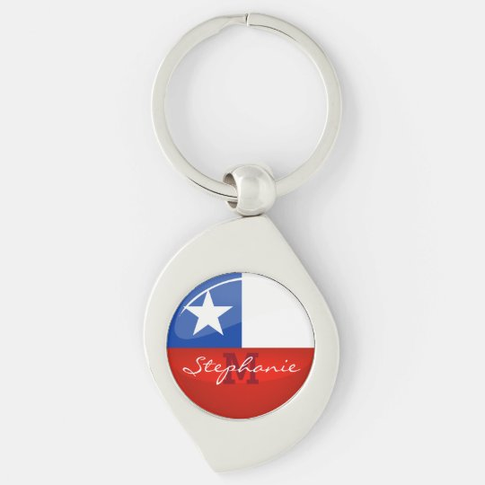 Glossy Round Chilean Flag Silver-Colored Swirl Keychain