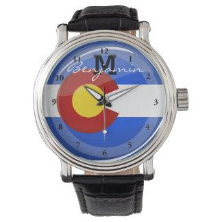 Glossy Round Colorado Flag Wristwatches