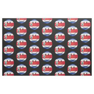 Glossy Round Costa Rican Flag Fabric