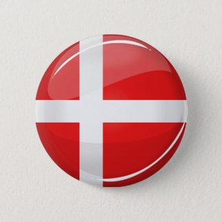 Glossy Round Denmark Flag 2 Inch Round Button