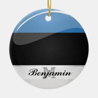 Glossy Round Estonian Flag Round Ceramic Ornament