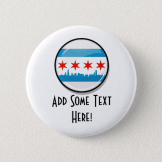 Glossy Round Flag of Chicago 2 Inch Round Button