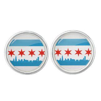 Glossy Round Flag of Chicago Cufflinks