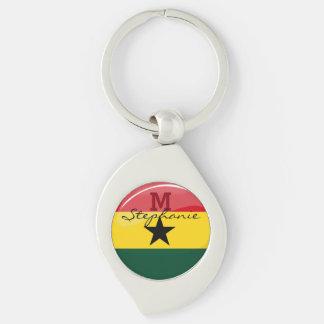 Glossy Round Ghanian Flag Keychain