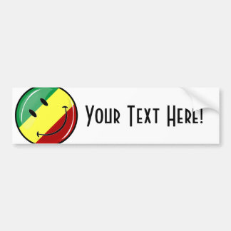 Glossy Round Happy Rasta Flag Bumper Sticker