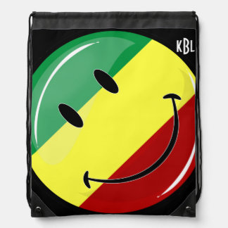 Glossy Round Happy Rasta Flag Drawstring Bag