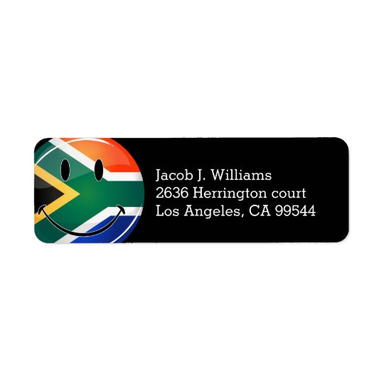 Glossy Round Happy South African Flag