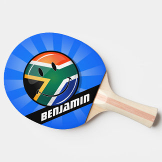 Glossy Round Happy South African Flag Ping-Pong Paddle