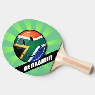 Glossy Round Happy South African Flag Ping Pong Paddle