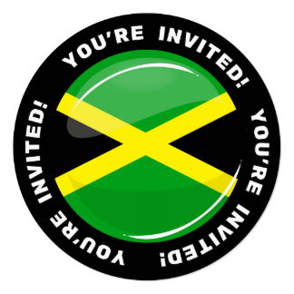 Glossy Round Jamaican Flag Card