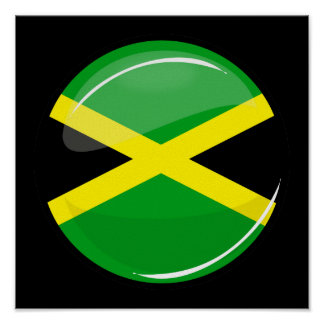 Glossy Round Jamaican Flag Poster