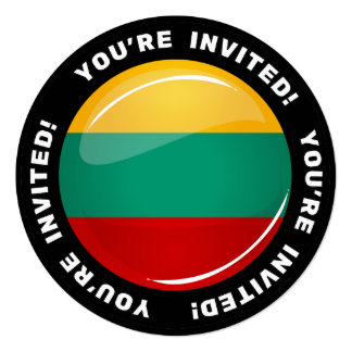 Glossy Round Lithuanian Flag Card