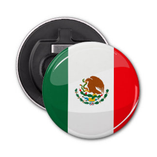 Glossy Round Mexican Flag Bottle Opener
