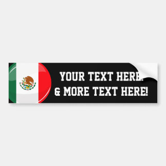 Glossy Round Mexican Flag Bumper Sticker