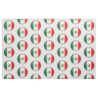 Glossy Round Mexican Flag Fabric
