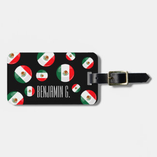 Glossy Round Mexican Flag Luggage Tag