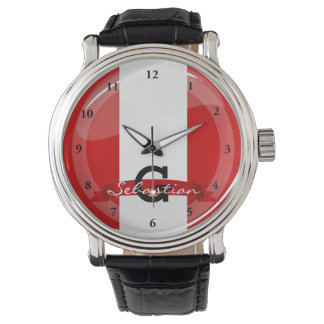 Glossy Round Peruvian Flag Watch