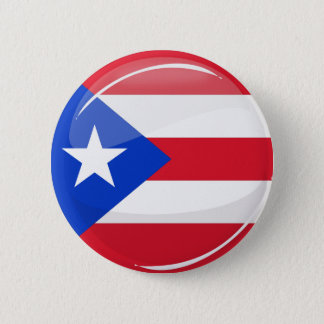 Glossy Round Puerto Rican Flag 2 Inch Round Button