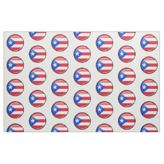Glossy Round Puerto Rican Flag Fabric