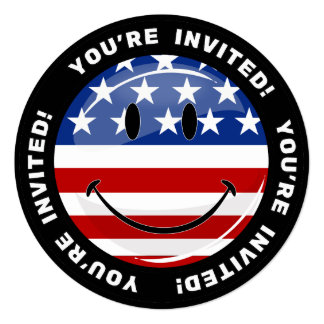 Glossy Round Smiling American Flag Card
