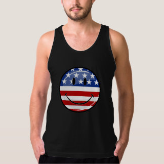 Glossy Round Smiling American Flag Tank Top