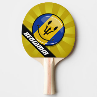 Glossy Round Smiling Barbados Flag Ping-Pong Paddle