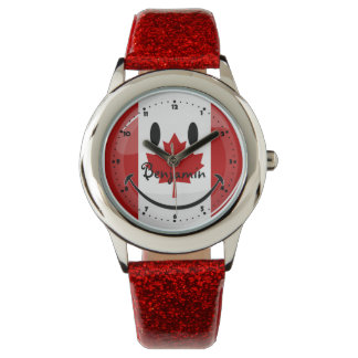 Glossy Round Smiling Canadian Flag Watch