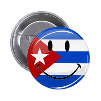 Glossy Round Smiling Cuban Flag 2 Inch Round Button