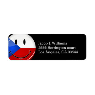 Glossy Round Smiling Czech Rep. Flag
