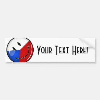 Glossy Round Smiling Czech Rep. Flag Bumper Sticker