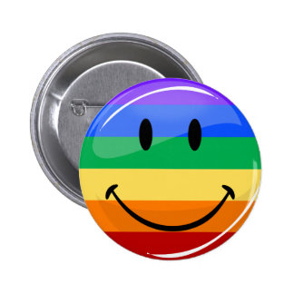 Glossy Round Smiling Gay Pride Flag 2 Inch Round Button