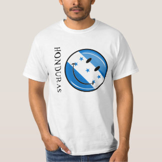 Glossy Round Smiling Honduran Flag T-Shirt