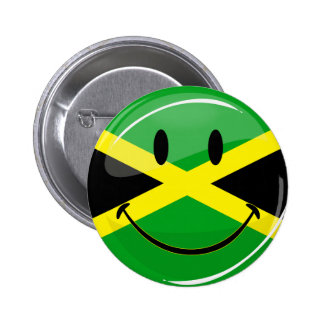 Glossy Round Smiling Jamaican Flag 2 Inch Round Button