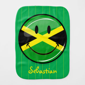 Glossy Round Smiling Jamaican Flag Baby Burp Cloths