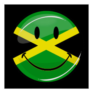 Glossy Round Smiling Jamaican Flag Poster