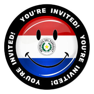 "Glossy Round Smiling Paraguay Flag 5.25"" Square Invitation Card"