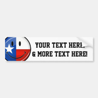 Glossy Round Smiling Proud Texas Flag Bumper Sticker