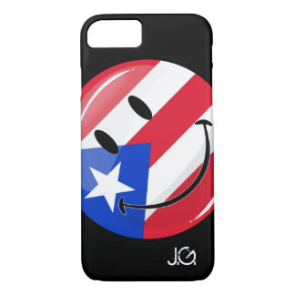 Glossy Round Smiling Puerto Rican Flag iPhone 7 Case