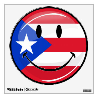 Glossy Round Smiling Puerto Rican Flag Wall Sticker