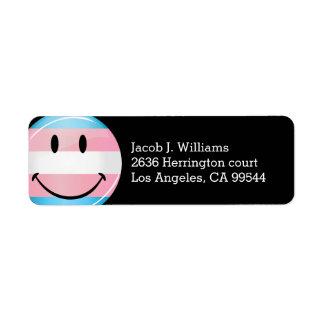 Glossy Round Smiling Transgender Flag