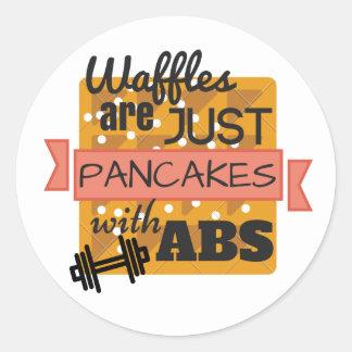 Glossy Round Sticker - Workout Waffles