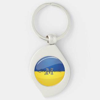 Glossy Round Ukrainian Flag Keychain