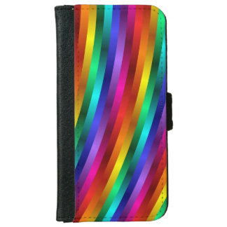 Glossy Shiny Rainbow Stripes iPhone 6 Wallet Case