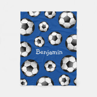 Glossy Soccer Ball Fleece Blanket