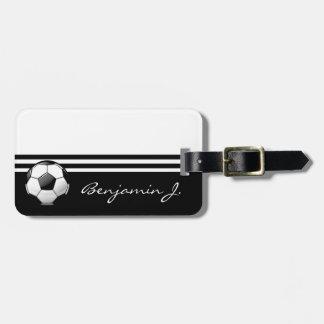 Glossy Soccer Ball Luggage Tag