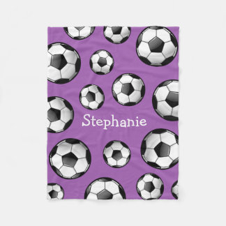 Glossy Soccer Ball Purple Fleece Blanket